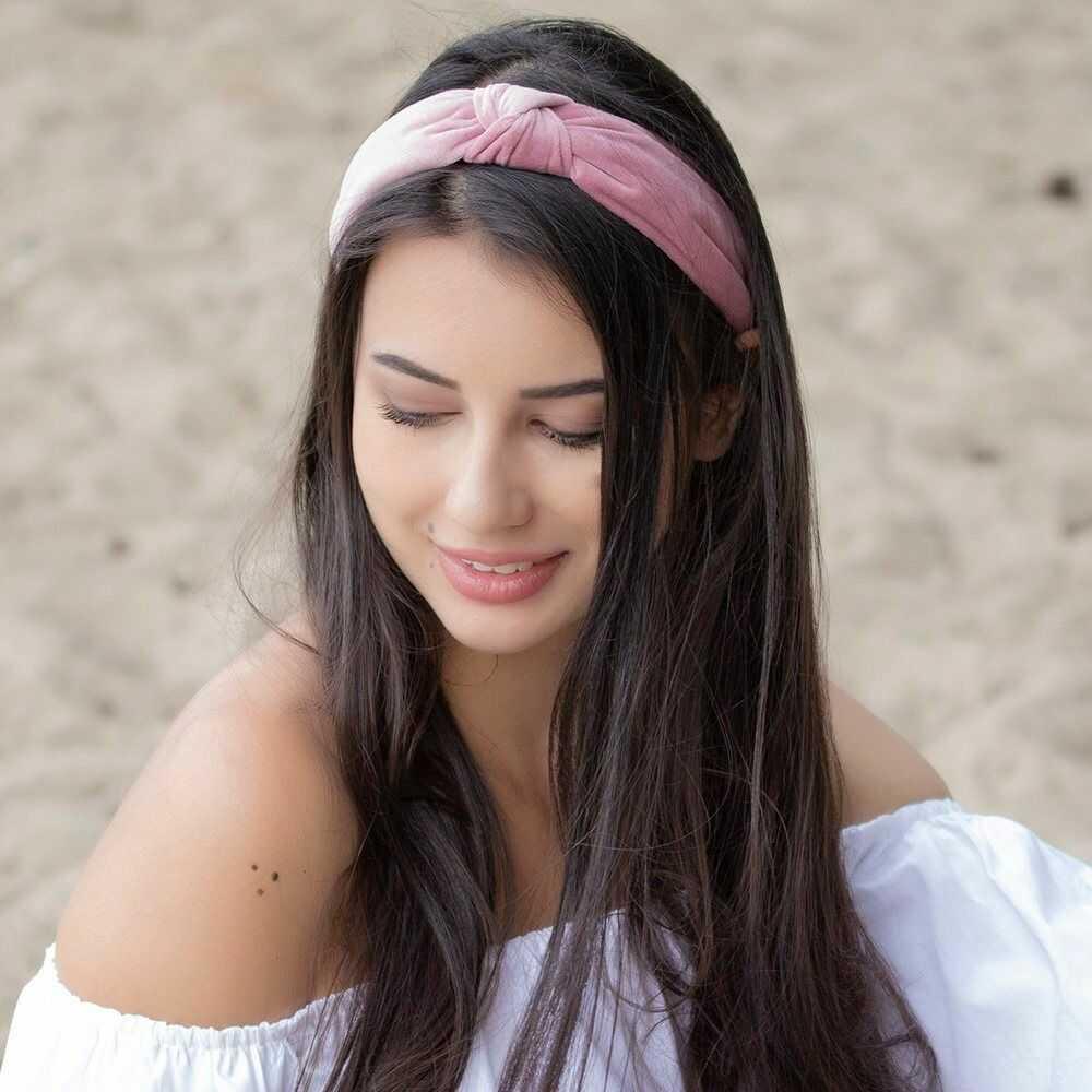 Opaska do włosów turban węzeł brudny róż welurowa