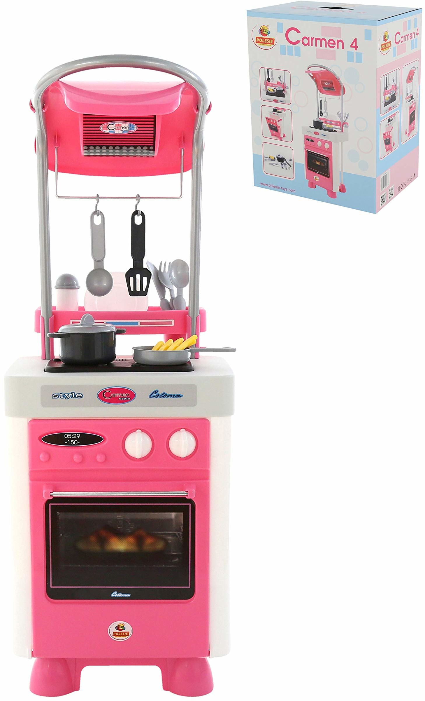 Polesie 58836 Carmen kuchnia z piekarnikiem i kuchenką (pudełko) - zabawki do gotowania i zabawy, wielokolorowe