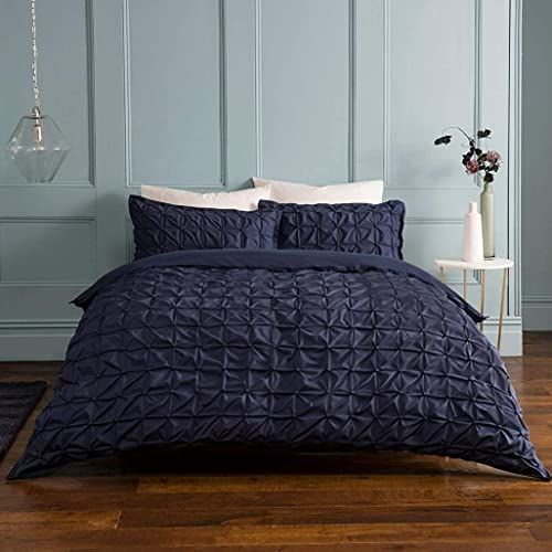 Sleepdown Rouched plisowana granatowa podwójna dwustronna pościel zestaw i poszewki na poduszki, mieszanka bawełny