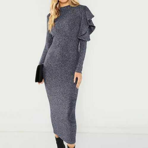 Sukienka zmysłowa sweterkowa maxi szara KIDNEY BS001110