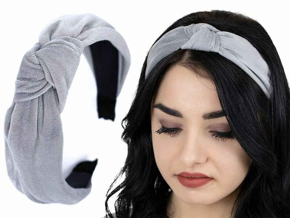 Opaska do włosów turban węzeł szara welurowa