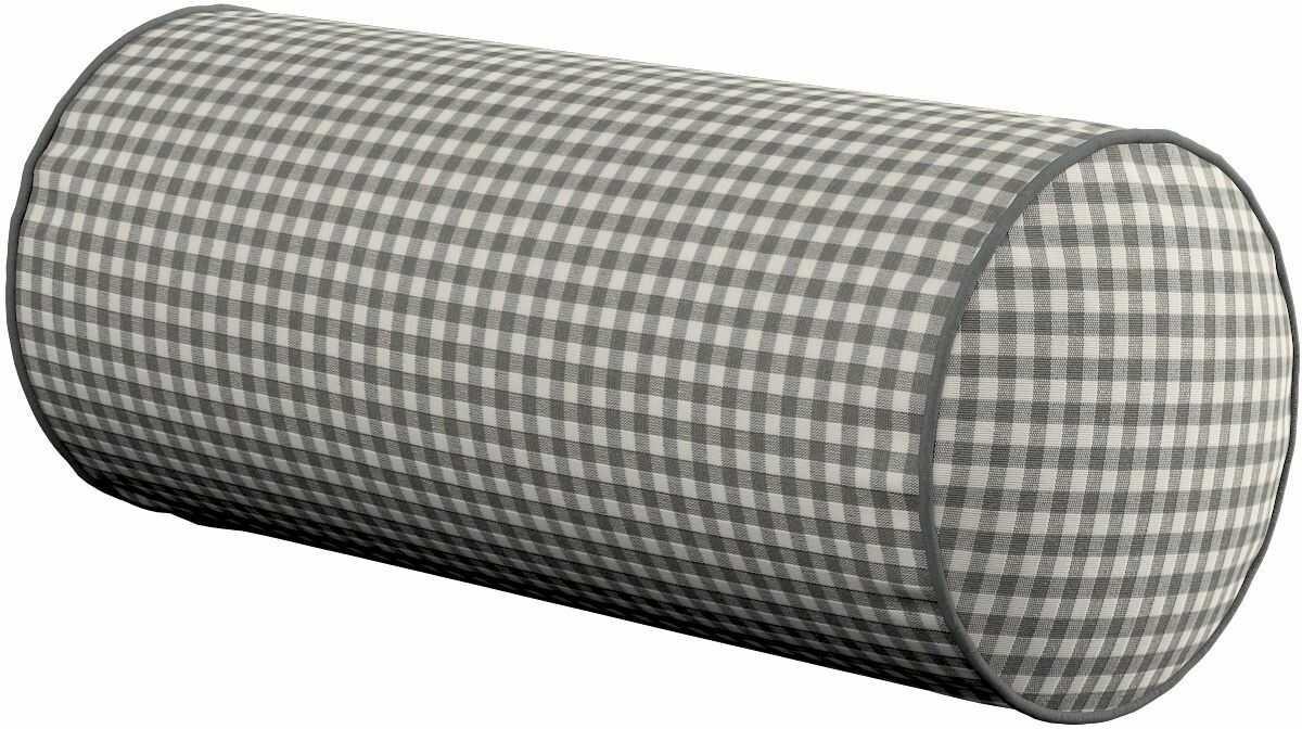 Poduszka wałek prosty, szaro biała krateczka (0,5x0,5cm), Ø16  40 cm, Quadro
