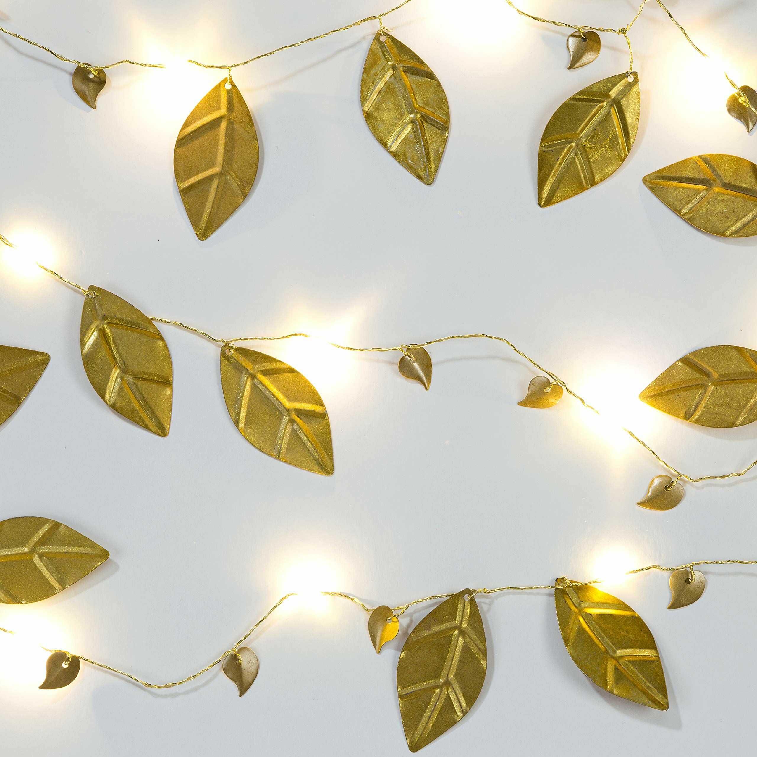 Stoły rozmowy LED sznur złoty liść lampki choinkowe dekoracje na baterie 2 metry