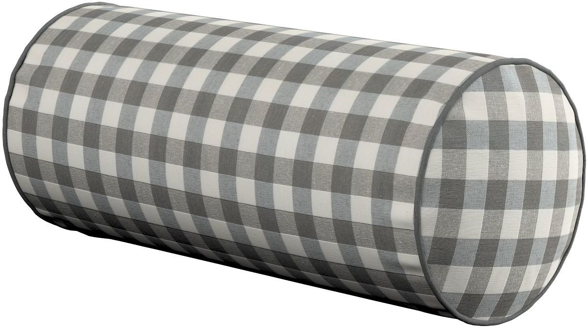 Poduszka wałek prosty, szaro biała kratka (1,5x1,5cm), Ø16  40 cm, Quadro