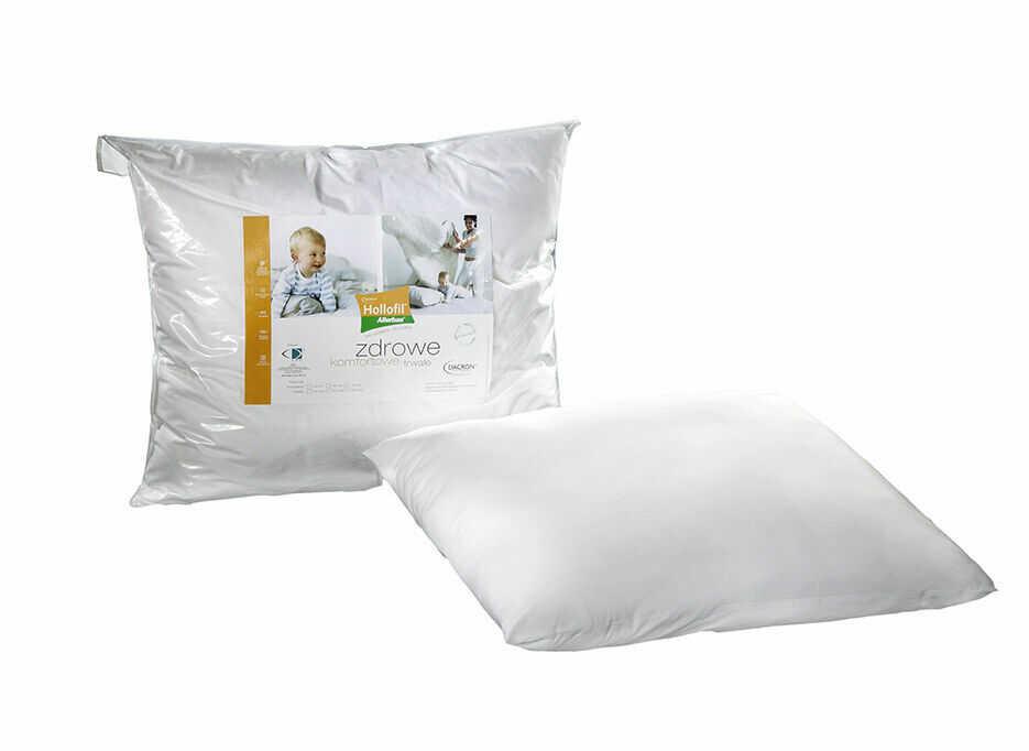 Poduszka antyalergiczna 70x80 Hollofil Allerban 0,83 kg biała ze środkiem przeciwdziałającym rozwojowi roztoczy grzybów i bakterii AMW