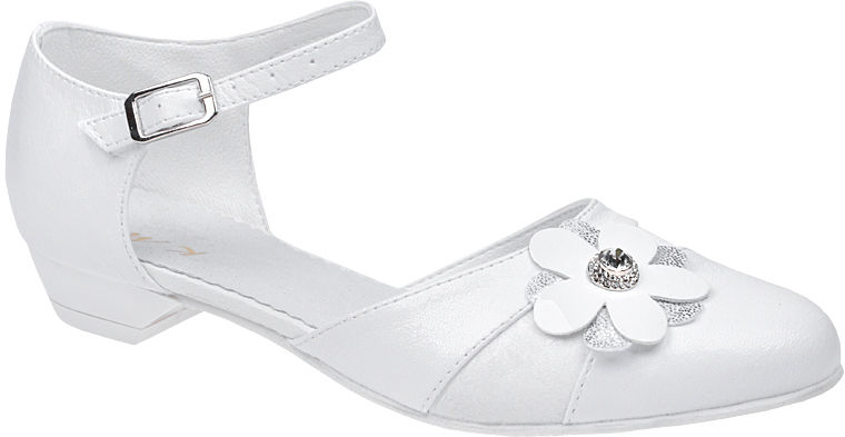 Pantofelki buty komunijne dla dziewczynki KMK 179 Białe - Biały