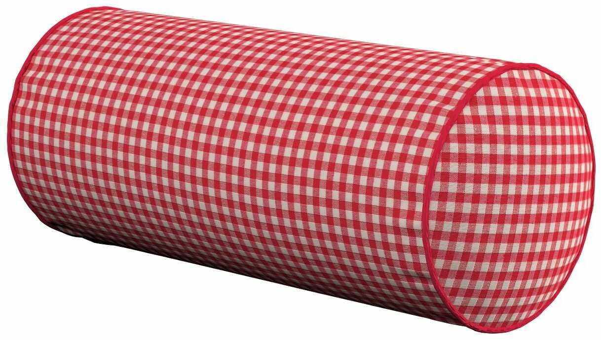 Poduszka wałek prosty, czerwono biała krateczka (0,5x0,5cm), Ø16  40 cm, Quadro
