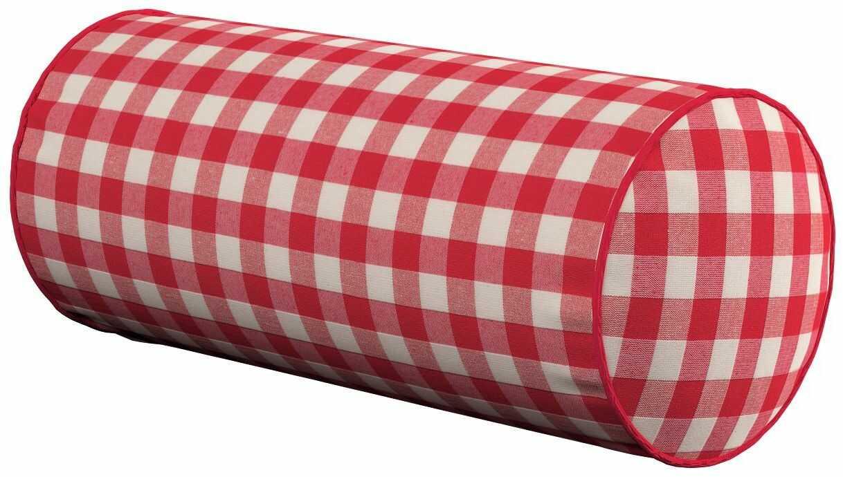 Poduszka wałek prosty, czerwono biała kratka (1,5x1,5cm), Ø16  40 cm, Quadro