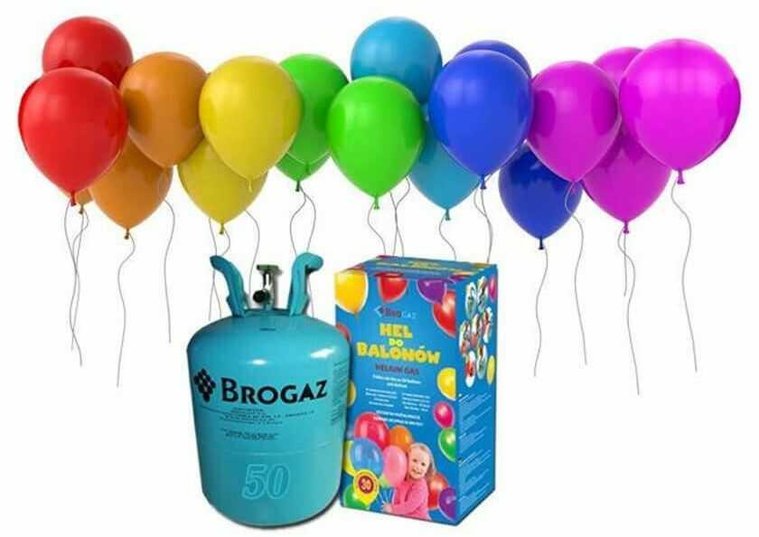 Zestaw do samodzielnego napełniania 30 balonów helem - butla + balony + wstążki.