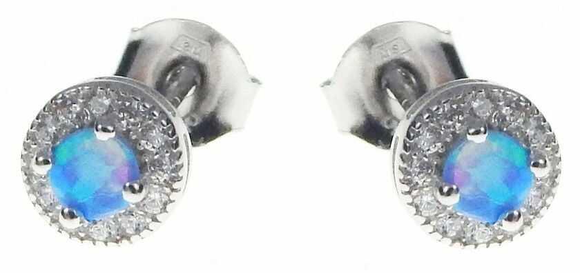 Delikatne okrągłe rodowane srebrne kolczyki z opalem i cyrkoniami opal cyrkonie srebro 925 V013E
