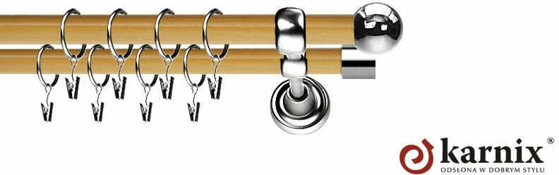 Karnisz Metalowy Prestige podwójny 19/19mm Kula INOX - pinia