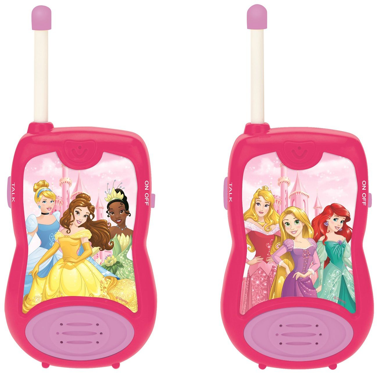 Lexibook TW12DP Disney Princesses Kopciuszek Roszpunka Walkie-talkies, gra komunikacyjna zabawka dla dzieci dziewczynka, klips do paska, bateria, różowy