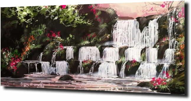 obraz na szkle Wodospad narysowany kredkami