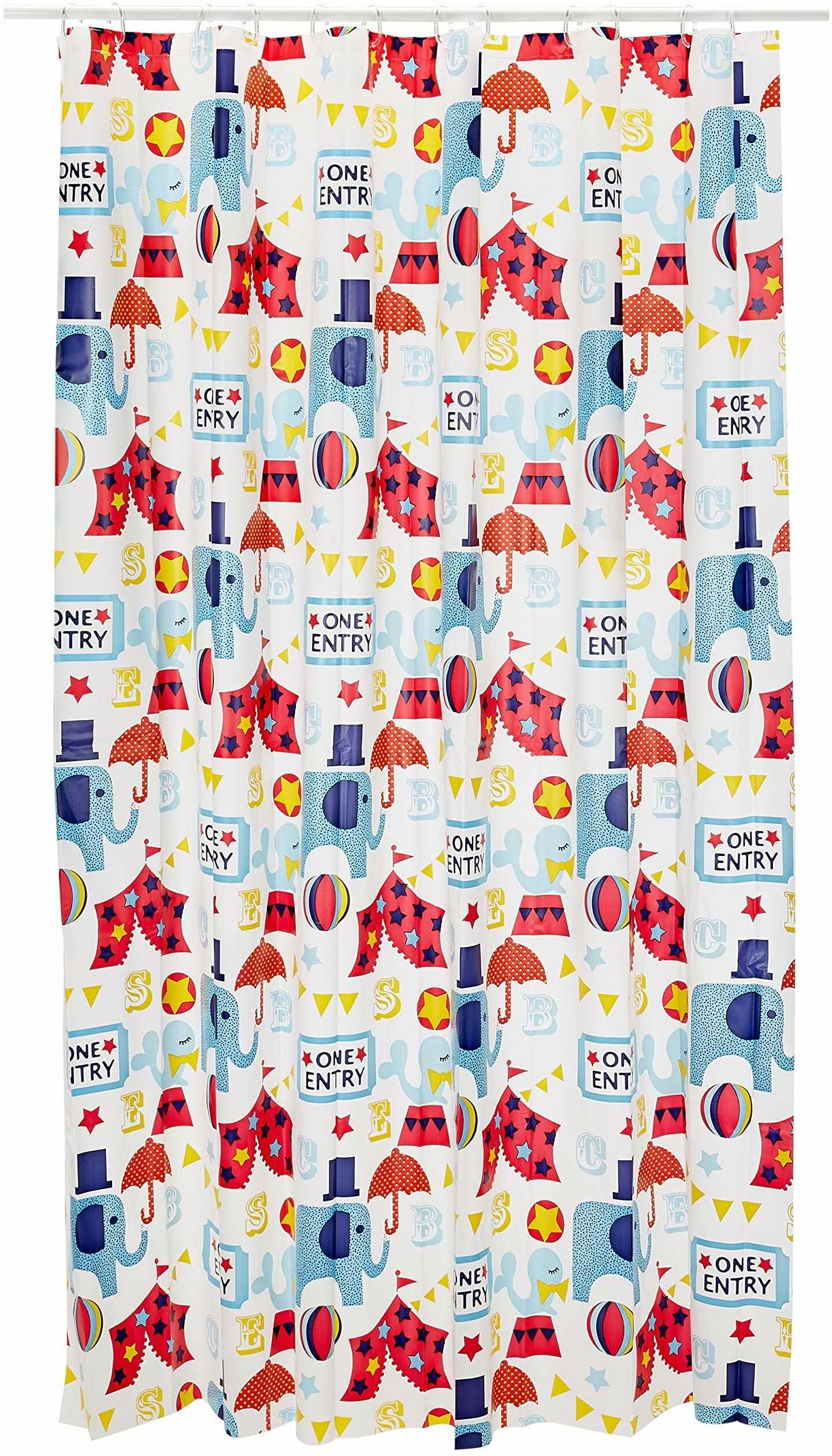 Spirella Zasłona z tworzywa sztucznego LIFESTYLE - Circus, wielokolorowa, 180 x 2 1107074, biała, Estandardar