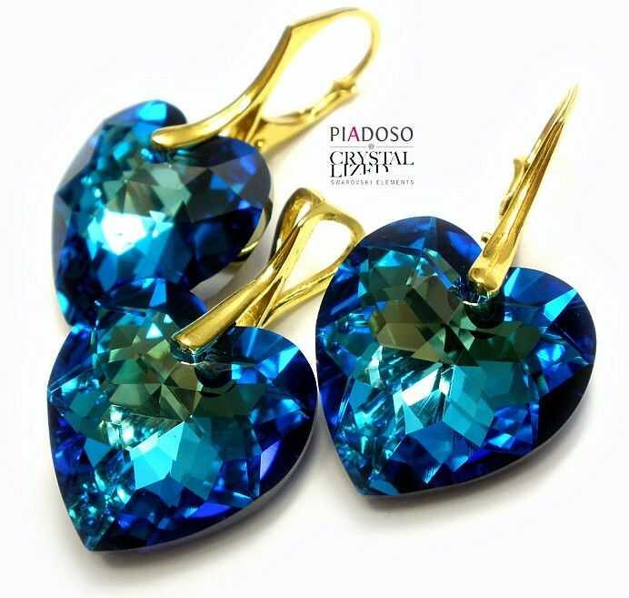 Komplet Kryształy +łańcuszek Bermuda Blue złote srebro