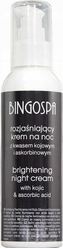 BINGOSPA - Brightening Night Cream - Rozjaśniający krem do twarzy na noc z kwasem kojowym i askorbinowym - 135 g