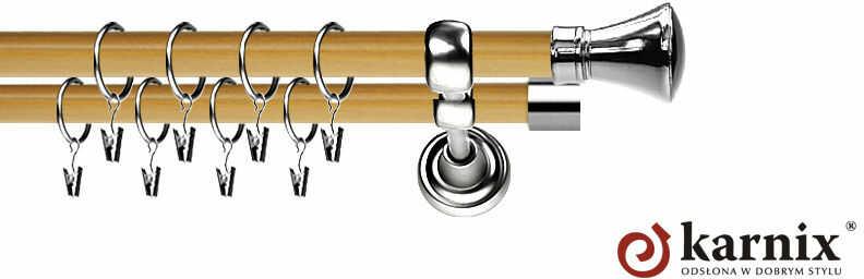 Karnisz Metalowy Prestige podwójny 19/19mm Liberty INOX - pinia