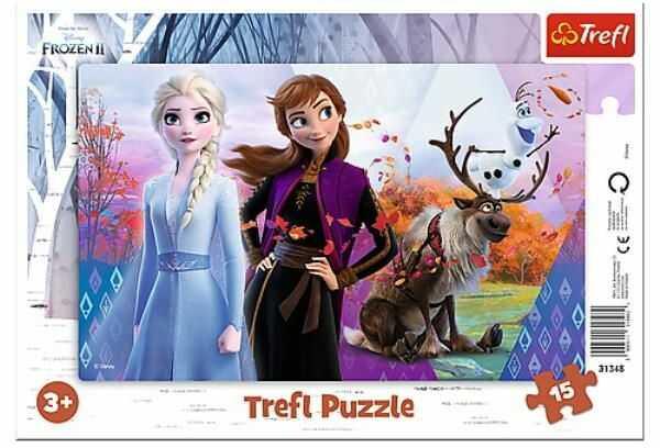 Puzzle 15el ramkowe Magiczny świat Anny i Elsy. Frozen 2 31348 Trefl p20 (31348 TREFL)