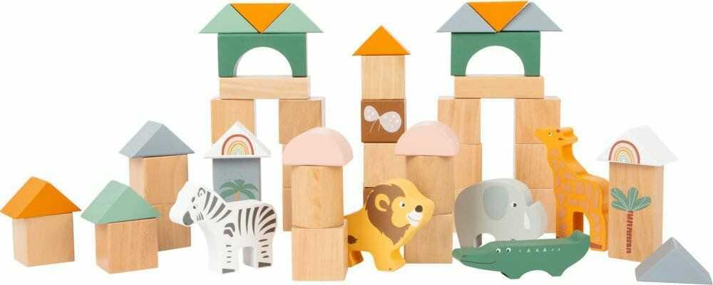 Drewniane klocki i figurki zwierząt Safari 11699- Small Foot, klocki dla dzieci