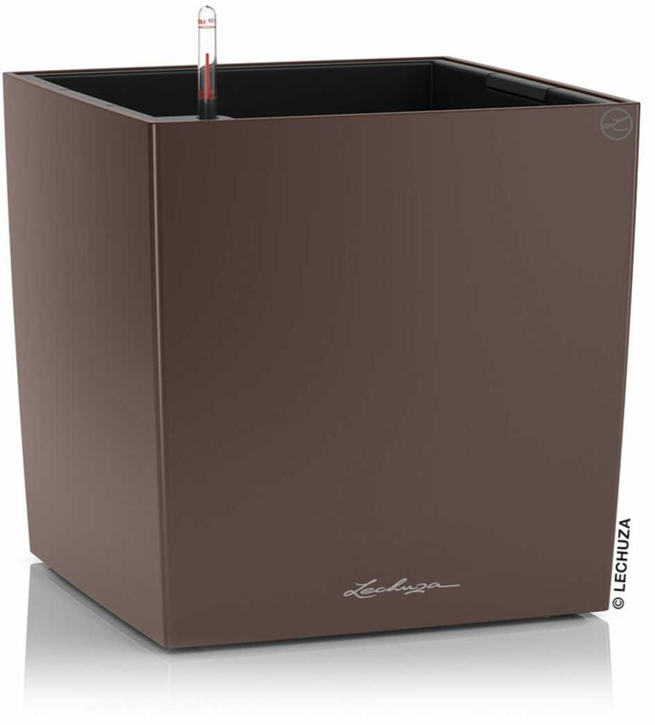 Donica Lechuza CUBE Premium 50 brązowy espresso metalik