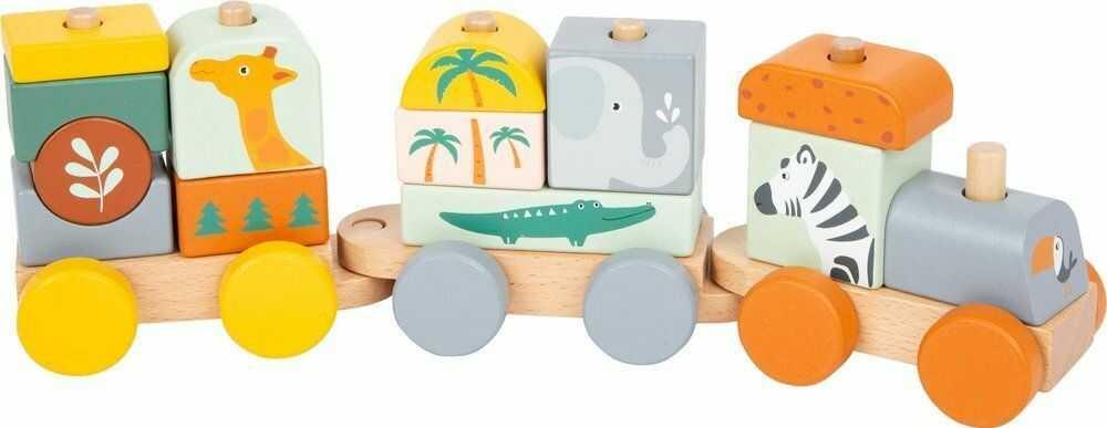 Drewniany pociąg nakładanka Safari 11698- Small Foot, pojazdy dla dzieci