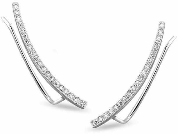 Eleganckie rodowane srebrne kolczyki nausznice z cyrkoniami srebro 925 Z1482