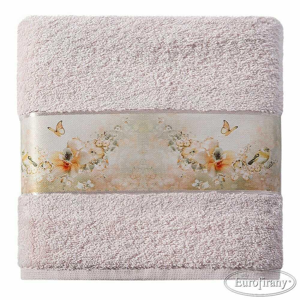 Ręcznik Spring 70x140 02 różowy z aplikacją 500 g/m2 Eurofirany