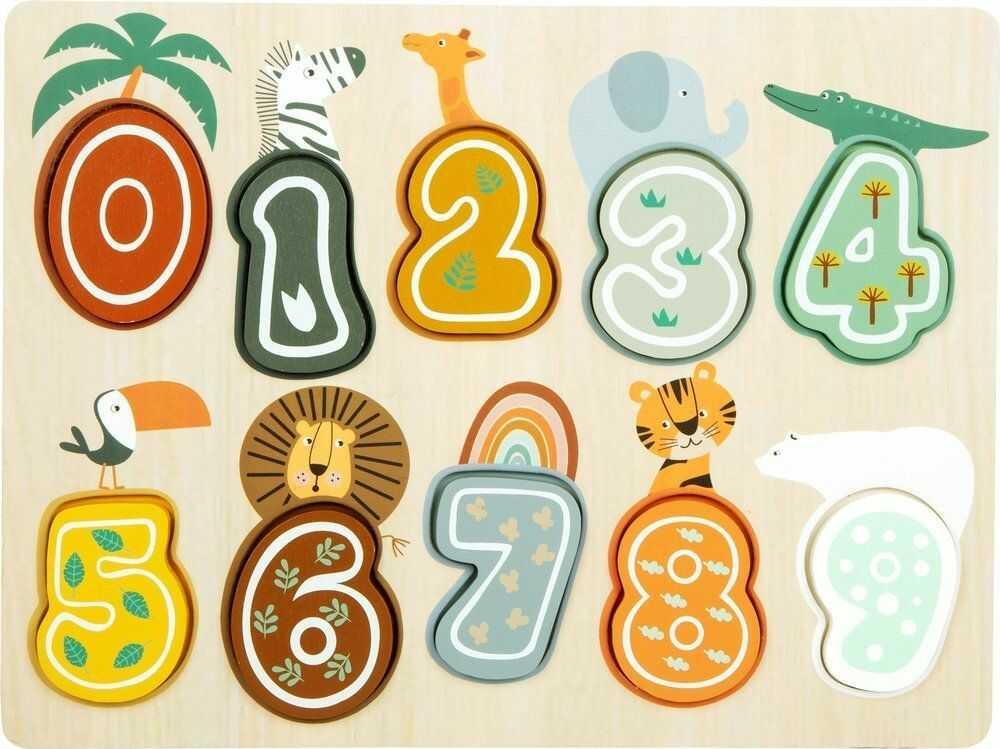 Układanka dla dzieci cyferki Super Safari 11702-Small Foot, zabawki edukacyjne