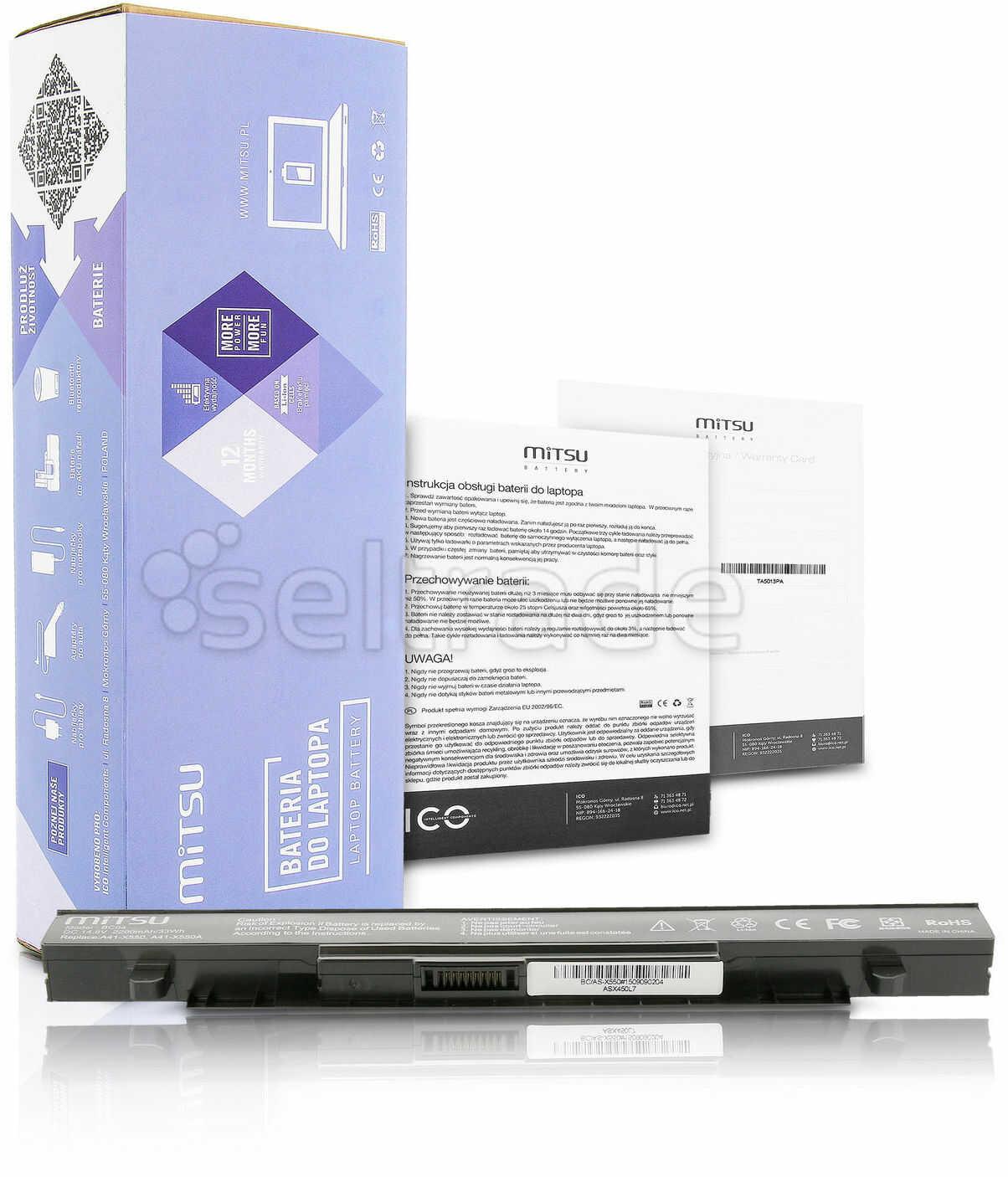 Bateria Mitsu do Asus X550, A450, F450, K550 2200 mAh