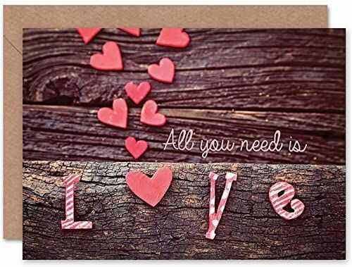 Wee Blue Coo VALENTINE ALL You NEED LOVE WOOD ART okolicznościowa kartka prezent