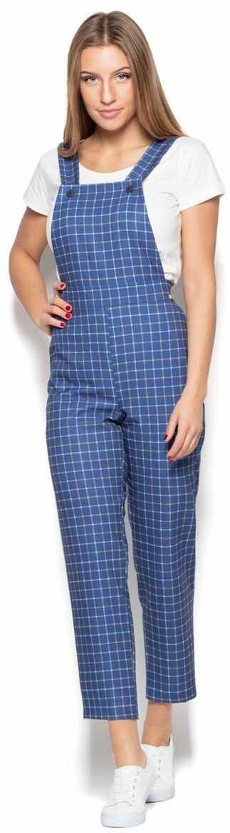 Niebieskie spodnie ogrodniczki w kratę