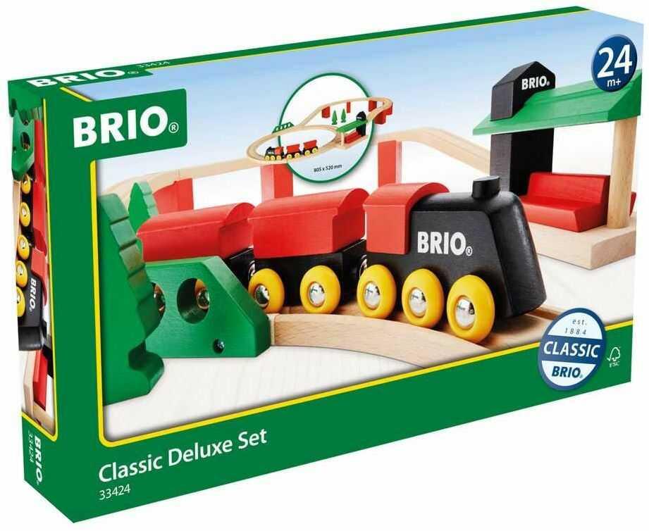 BRIO 63342400 Podstawowa Kolejka Zestaw Deluxe (63342400) Bezpieczna Zabawka Dla Dzieci Powyżej 3 Lat