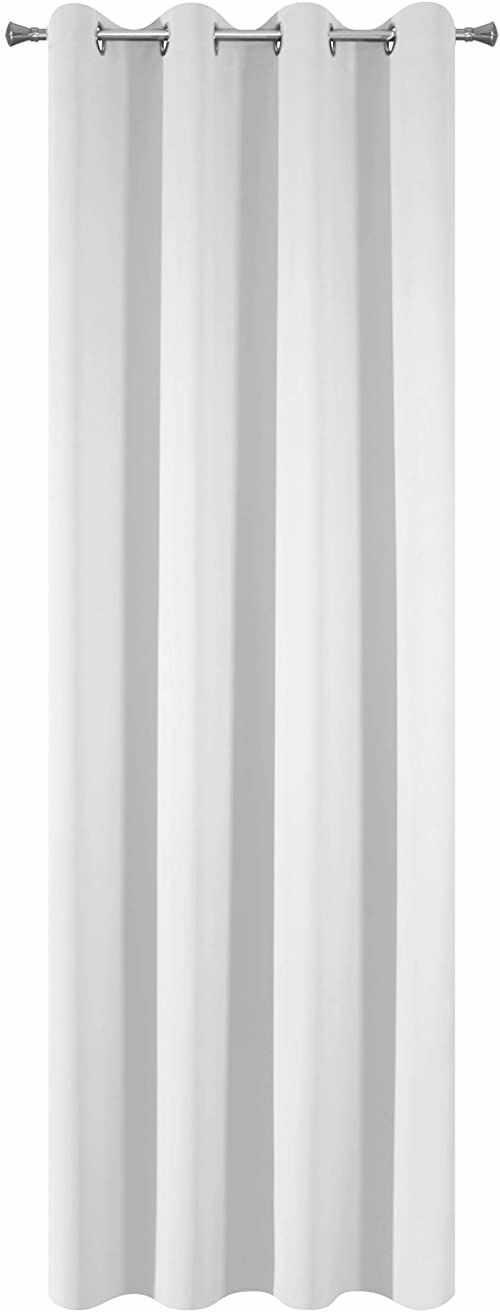 Design91 Gładkie zaciemniające 8 oczek, miękkie zasłony, nowoczesne, proste, do sypialni, pokoju dziecięcego, salonu, białe, 135 x 250 cm