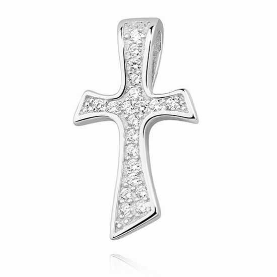 Rodowany srebrny krzyżyk krzyż cyrkonia cyrkonie srebro 925 Z1268