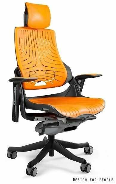 Fotel biurowy Wau czarny / elastomer mango Unique