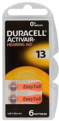 6 x baterie duracell Activair do aparatów słuchowych - typ 13/pr48