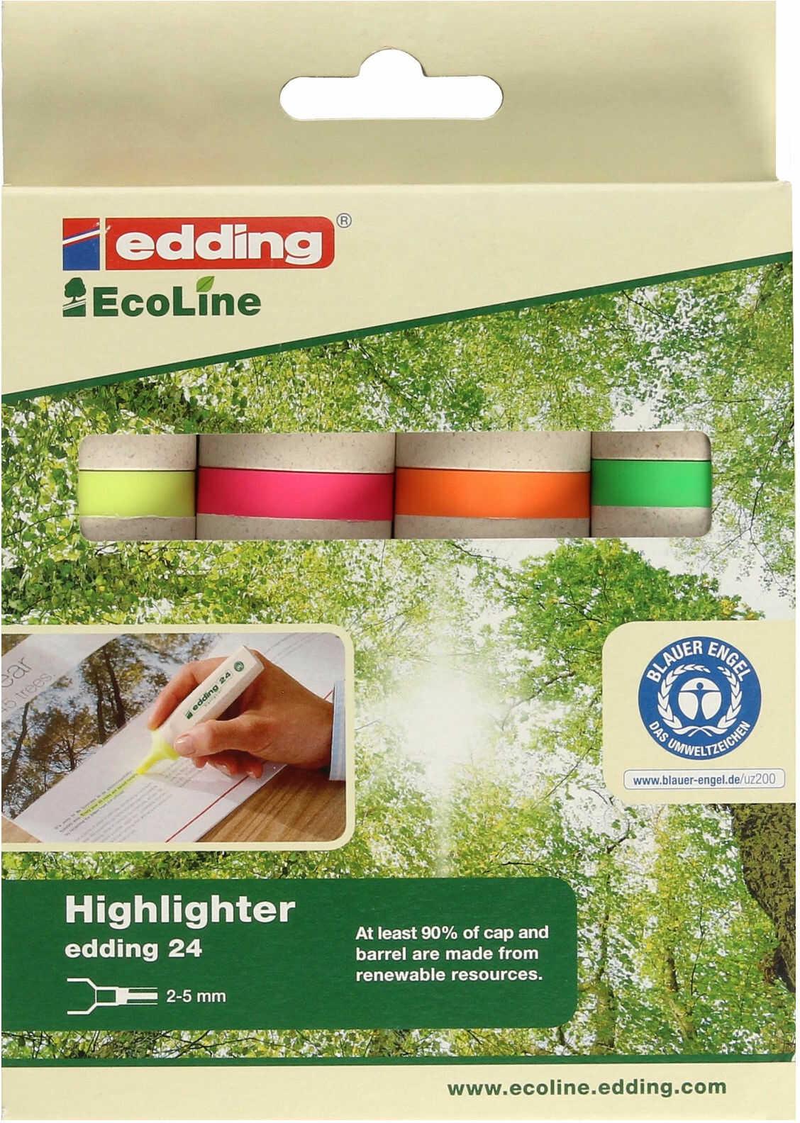 Zakreślacz 4kol etui Edding 24 EcoLine