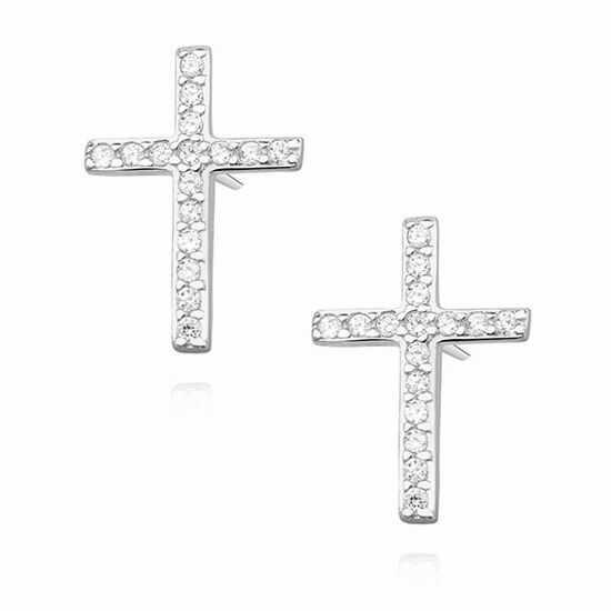 Delikatne rodowane srebrne kolczyki celebrytka krzyżyk krzyż cyrkonie srebro 925 Z1336E