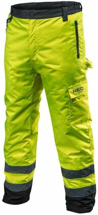 Spodnie robocze ostrzegawcze ocieplane, żółte, rozmiar XXL 81-760-XXL