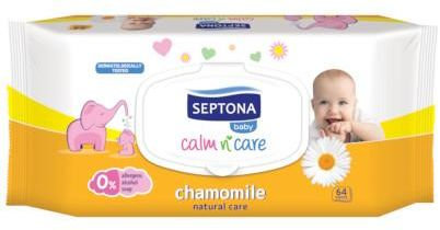 Septona Baby chusteczki nawilżane dla dzieci i niemowląt z rumiankiem 64 sztuki