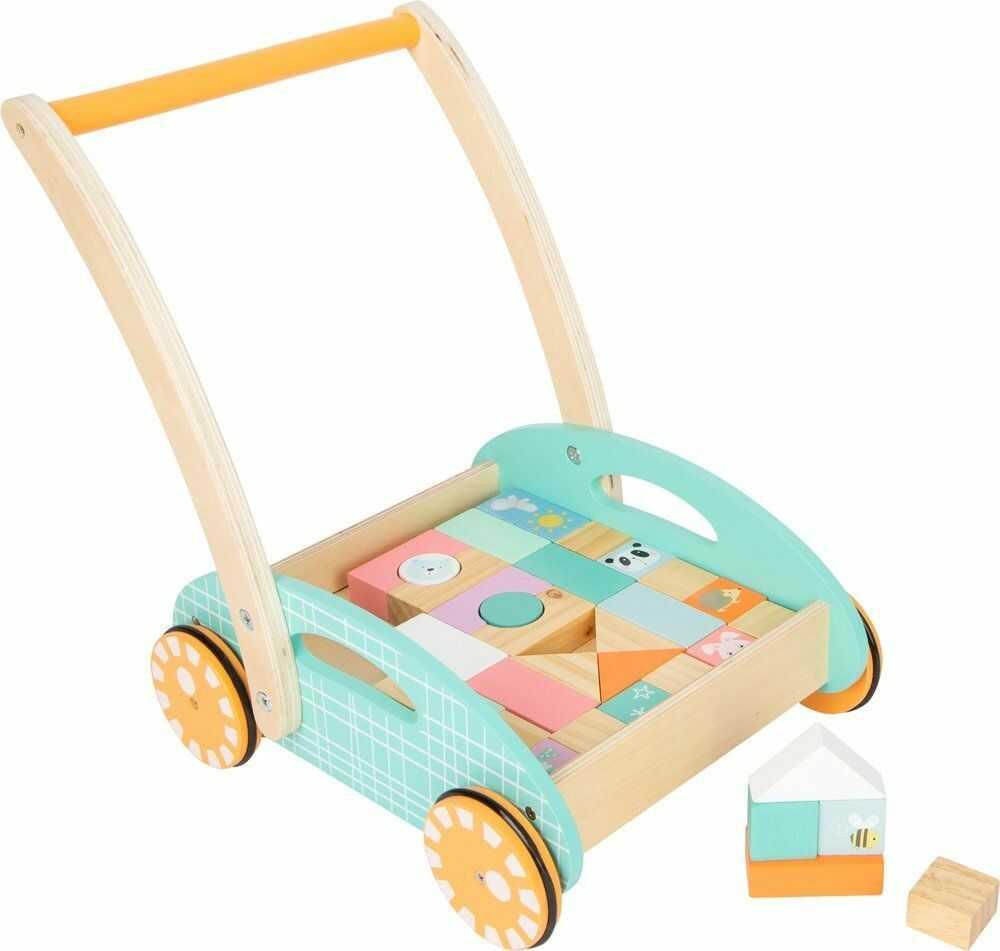Wózek z klockami Pastelowy chodzik 11766-Small Foot, pchacze dla dzieci