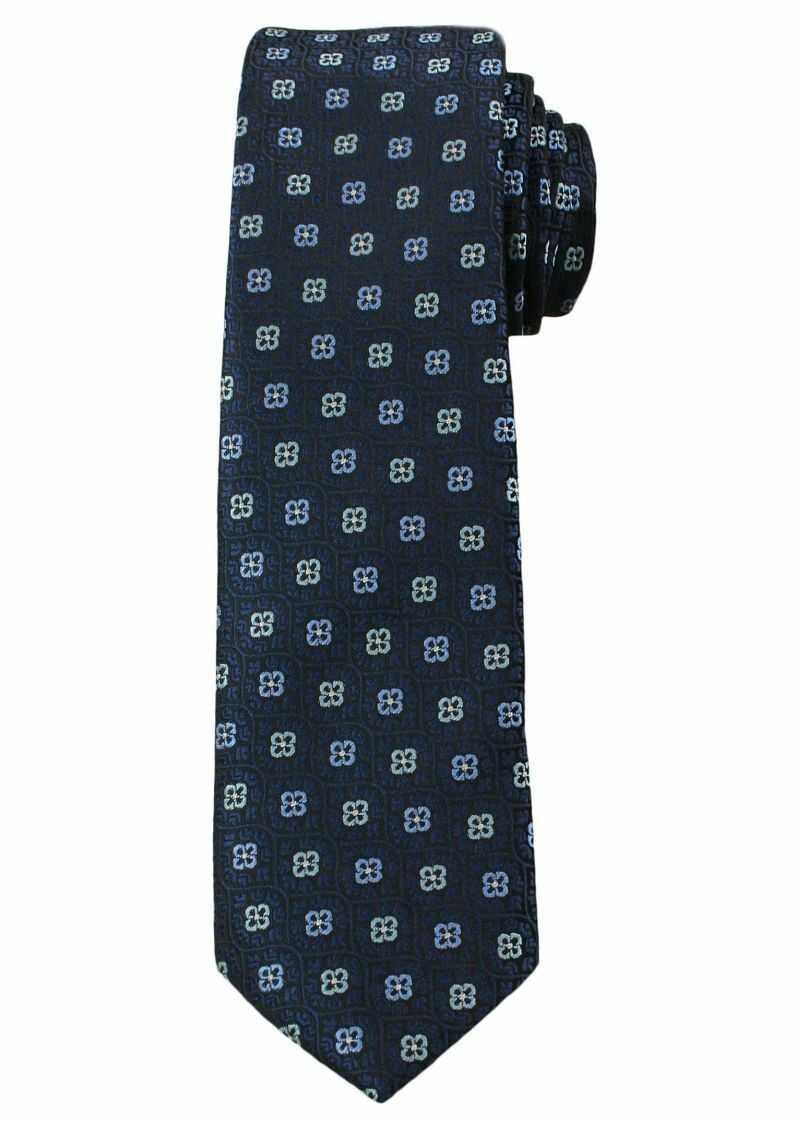 Stylowy Krawat Męski, MOTYW FLORYSTYCZNY, - 6 cm - Angelo di Monti, Granatowy KRADM1346