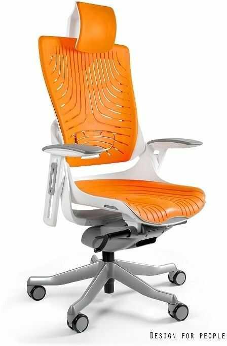 Fotel biurowy Wau 2 biały / elastomer mango Unique
