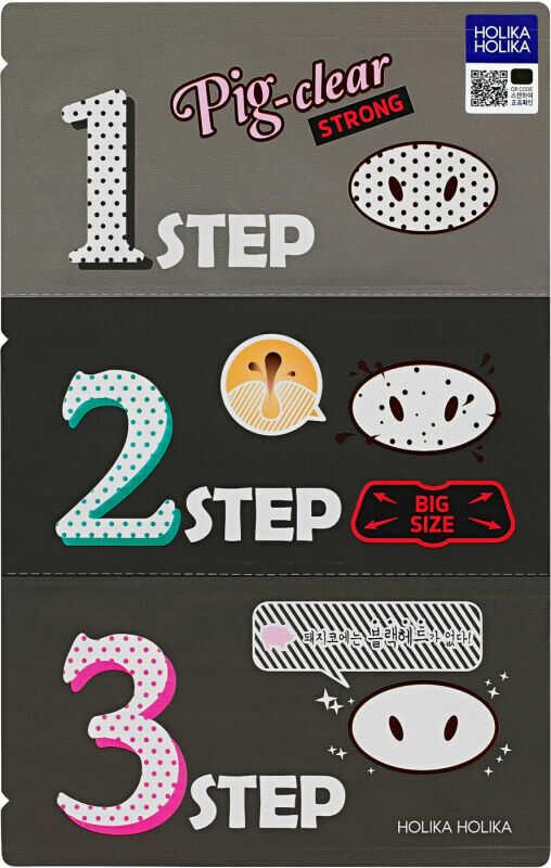 Holika Holika - Pig-nose Clear Black Head - 3 Step Kit Strong - Silnie oczyszczające pory, plastry na nos