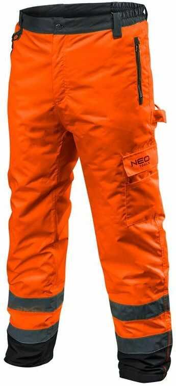 Spodnie robocze ostrzegawcze ocieplane, pomarańczowe, rozmiar XXXL 81-761-XXXL