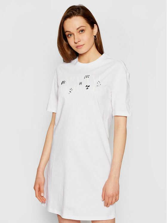 Armani Exchange Sukienka codzienna 3KYA90 YJW3Z 1000 Biały Regular Fit