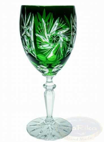 Szmaragdowe kryształowe kieliszki do wina 220 ml Młynek 6 sztuk