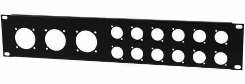 Amex C1 custom panel 2U; 12xXLR + 3x230
