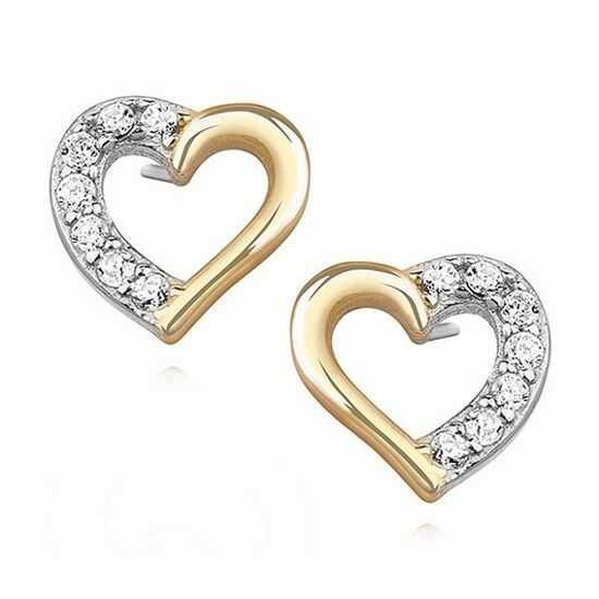 Delikatne pozłacane srebrne kolczyki serca serduszka z cyrkoniami srebro 925 Z1091E_G