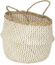 COMPACTOR RAN8412 kosz do przechowywania z ręcznie plecionej trawy morskiej, składany, z uchwytami, jasne drewno, Ø 35 x 32 cm